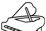 Tranh tô màu đàn piano đơn giản