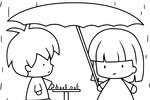 Tranh tô màu 2 đứa trẻ chơi cờ dưới mưa