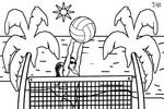Tranh tô màu bóng chuyền bãi biển