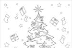 Tranh tô màu cây thông, quà và đồ chơi