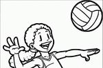 Tranh tô màu cô bé chơi bóng chuyền