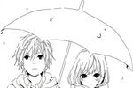 Tranh tô màu chàng trai và cô gái dưới mưa