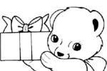 Tranh tô màu chú gấu bông bưng hộp quà