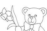 Tranh tô màu chú gấu bông cầm bông hoa