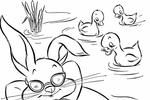 Tranh tô màu chú thỏ nằm trên cái phao