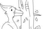 Tranh tô màu chim gõ kiến đang đục thân cây