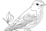 Tranh tô màu chim sẻ đậu trên cành