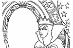 Tranh tô màu hoàng hậu bên gương thần