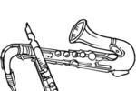 Tranh tô màu kèn clarinet và saxophone