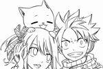 Tranh tô màu lucy, natsu và happy