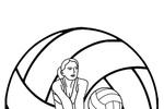 Tranh tô màu nữ cầu thủ bóng chuyền
