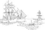 Tranh tô màu những con tàu của columbus