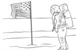 Tranh tô màu phi hành gia trên mặt trăng