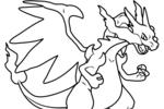 Tranh tô màu pokemon lizardon mega x