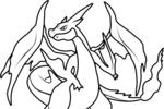 Tranh tô màu pokemon lizardon mega y