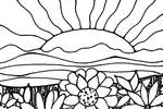 Tranh tô màu Vườn hoa khoe sắc đón bình minh