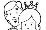 Tranh tô màu Bố và Mẹ Đeo Vương Miện