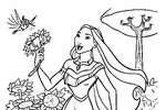 Tranh tô màu Công Chúa Pocahontas Hái Hoa