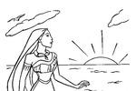 Tranh tô màu Công Chúa Pocahontas Trên Bãi Biển