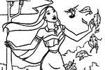 Tranh tô màu Công Chúa Pocahontas Vui Vẻ